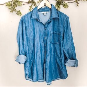 Old Navy Blue Chambray Classic Button Up Shirt